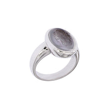 Load image into Gallery viewer, White Golden Ring set with a Ceylan Moonstone Engraved with Blazon