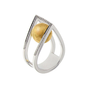 White Golden RAIN DROP Ring set with Diamonds - Select your Favourite Gem