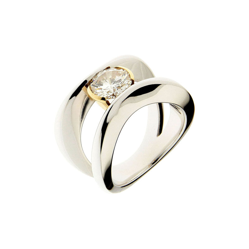 White and Yellow golden Solitaire Ring with 1.54 Carat Diamond