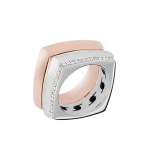 White & Pink Golden Rings set with 0.35 Carats of Diamonds