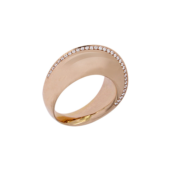 Pink Golden Ring set with 0.19 Carats of Diamonds
