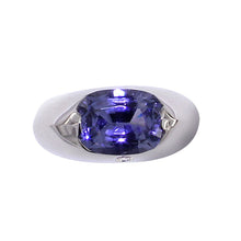 Load image into Gallery viewer, White Golden Ring set with 3.76 Carat Blue Spinel and Diamond