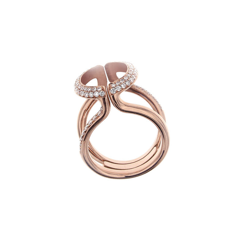 Pink Golden CHALICE VINE Ring set with Diamonds - Select your Favourite Gem