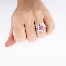 Load image into Gallery viewer, White Golden Ring set with 5.08 Carat Cushion Cut Pink Spinel and Diamonds