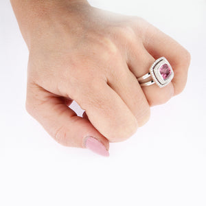 White Golden Ring set with 5.08 Carat Cushion Cut Pink Spinel and Diamonds
