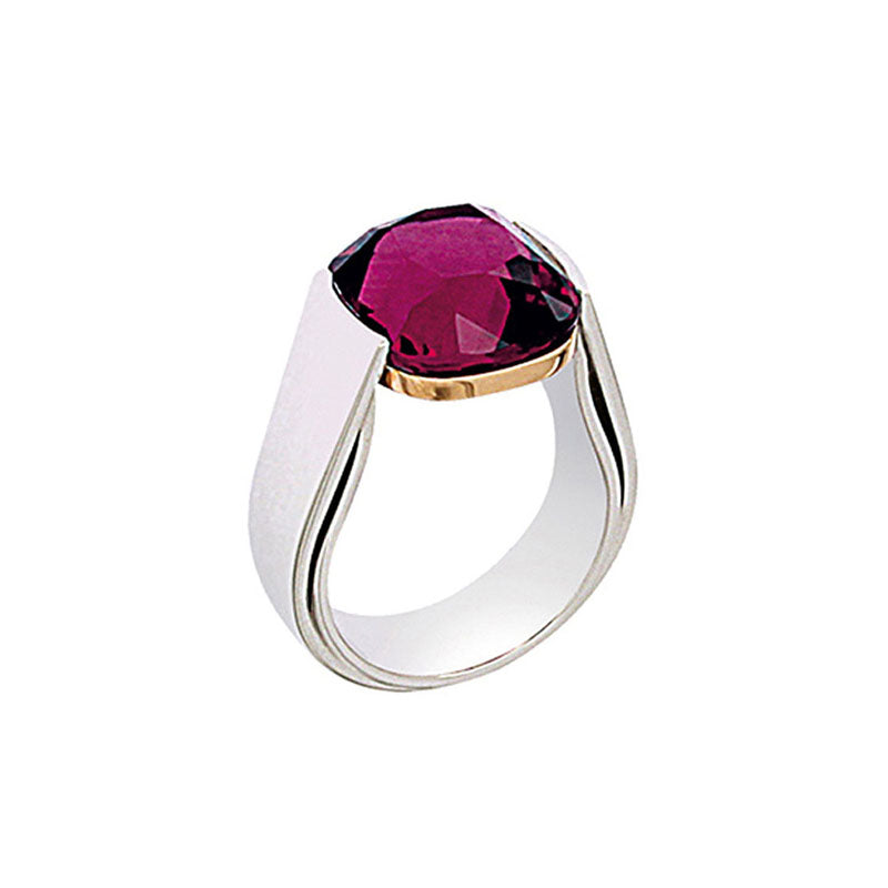 White Golden solitaire Ring set with 11.5 Carat Cherry Rubelite Cushion