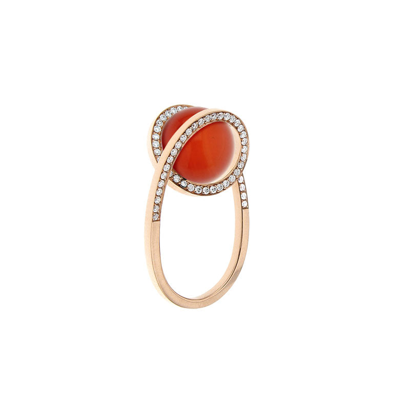 Pink Golden CURLY WURLY Ring - Select your Favourite Gem