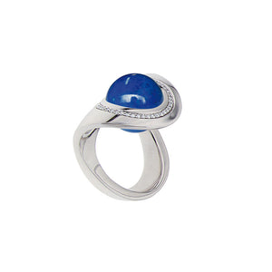 White Golden OCEAN WAVE Ring set with Diamonds - Select your Favourite Gem