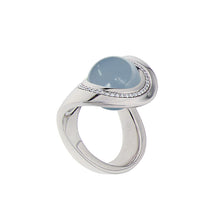 Load image into Gallery viewer, White Golden OCEAN WAVE Ring set with Diamonds - Select your Favourite Gem
