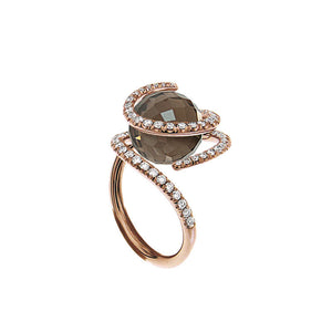 Pink Golden ROSE DEW Ring set with Diamonds - Select your Favourite Gem
