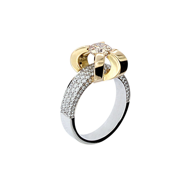 White and Yellow Golden Solitaire Ring set with 1.02 Carat Yellow Diamond