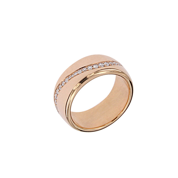 Pink Golden Ring Set with 0.58 Carats of Diamonds