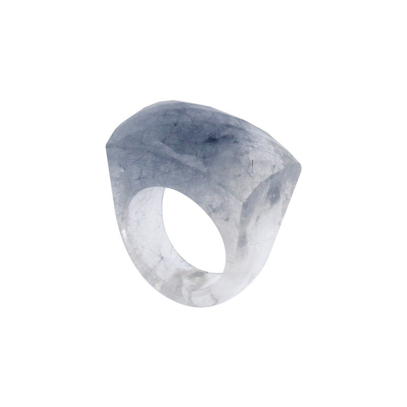 Completely Stone Rock Crystal with Blue Rutiles Ring