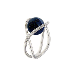 White Golden TWINE TWIGS Ring set with Diamonds - Select your Favourite Gem