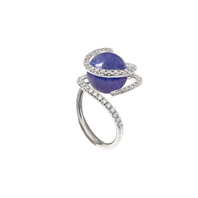 White Golden ROSE DEW Ring set with Diamonds - Select your Favourite Gem