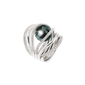 White Golden GRAND WATERFALL Ring - Select your Favourite Gem