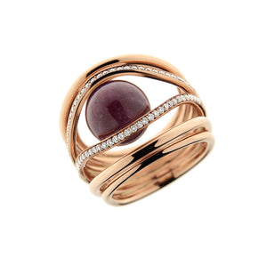 Pink Golden GRAND WATERFALL Ring set with Diamonds - Select your Favourite Gem