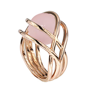 Pink Golden LARGE TWINE TWIGS Ring - Select your Favourite Gem