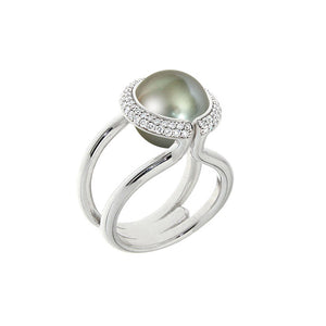 White Golden CHALICE VINE Ring set with Diamonds - Select your Favourite Gem
