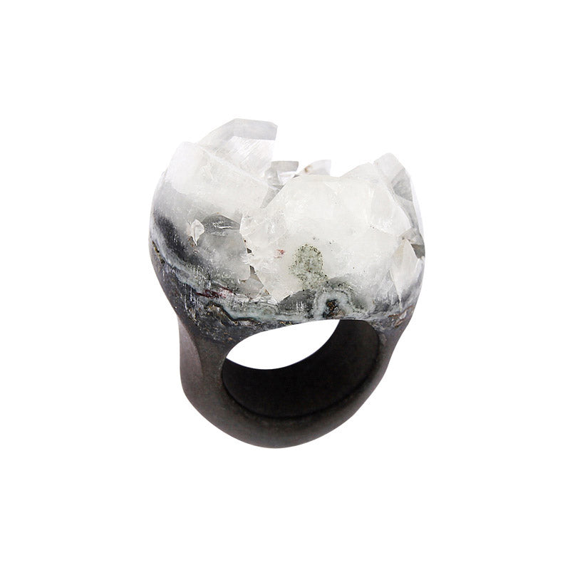 Completely Stone Crystallized Apophyllite Ring