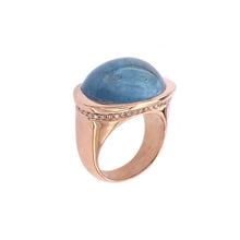 Load image into Gallery viewer, Pink Golden Ring set with Aquamarine and Diamonds