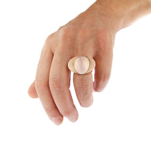 Load image into Gallery viewer, Pink Golden Ring set with Diamonds and Rose Quartz