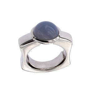 White Golden Ring set with Chalcedony