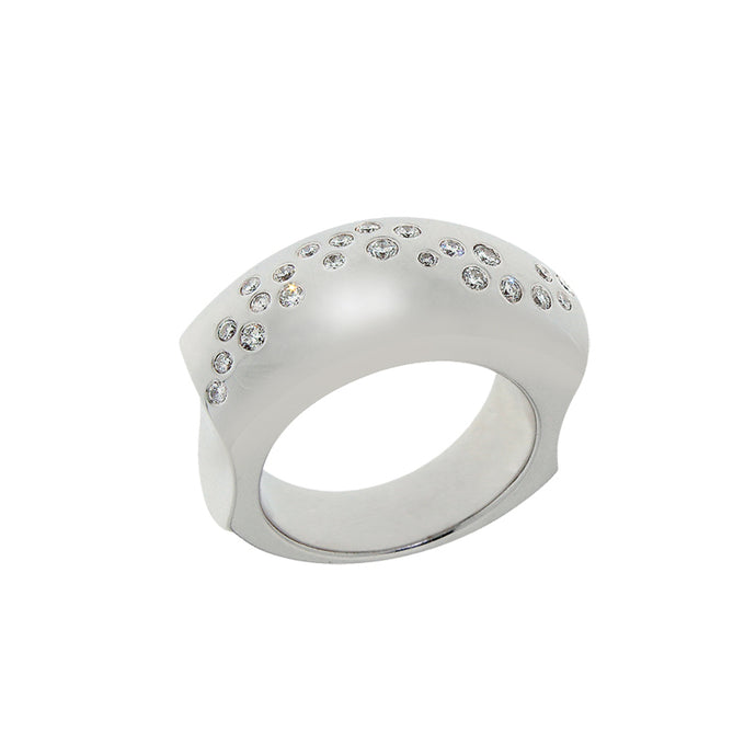 White Golden Ring set with 0.21 Carats of Diamonds