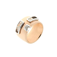 Load image into Gallery viewer, Pink and White Golden Ring 1 Carat Radiant Cut Yellow and White Diamonds
