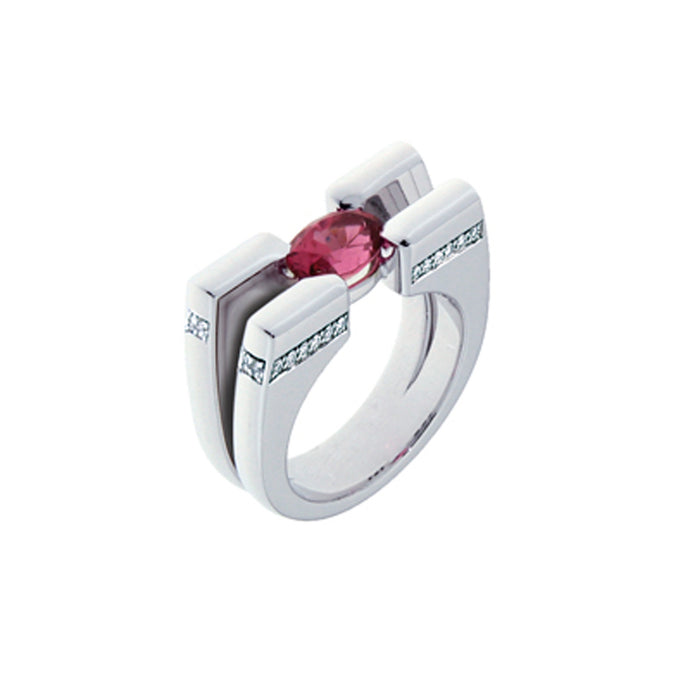 18 Karat White Golden Ring 1.51 Carat Salmon Spinel and Diamonds