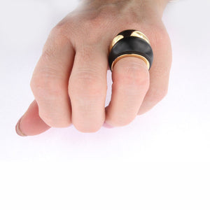 Yellow Golden Black Jade Double Dome Ring