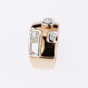 Pink and White Golden Ring 1 Carat Radiant Cut Yellow and White Diamonds