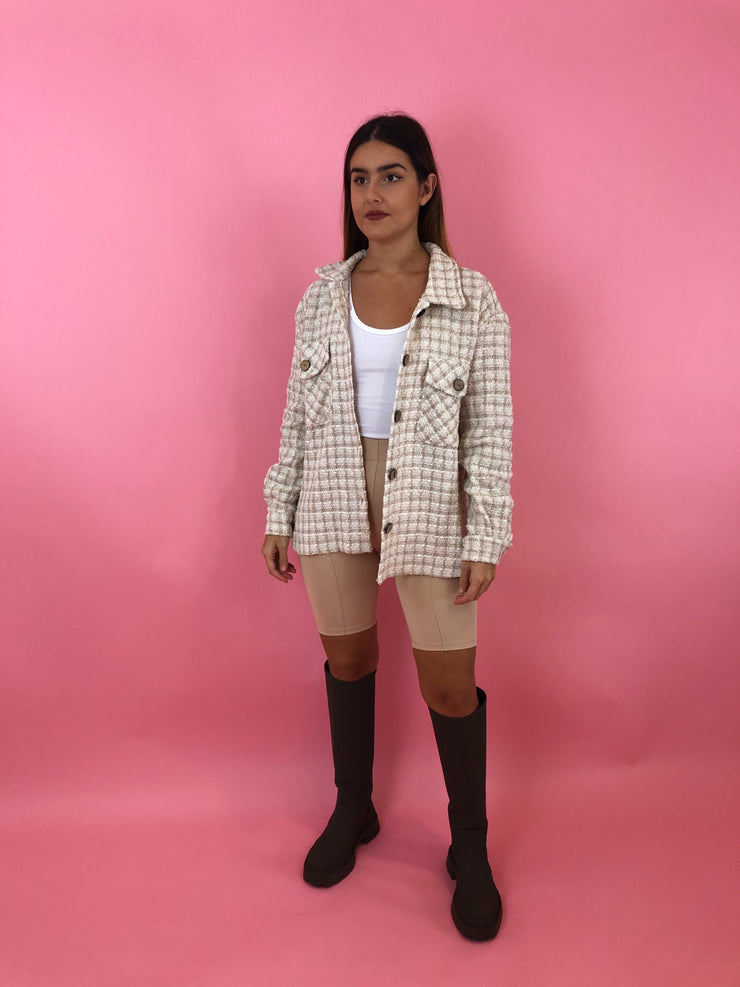 TWEED PLAID LOOSE IRREGULAR JACKET
