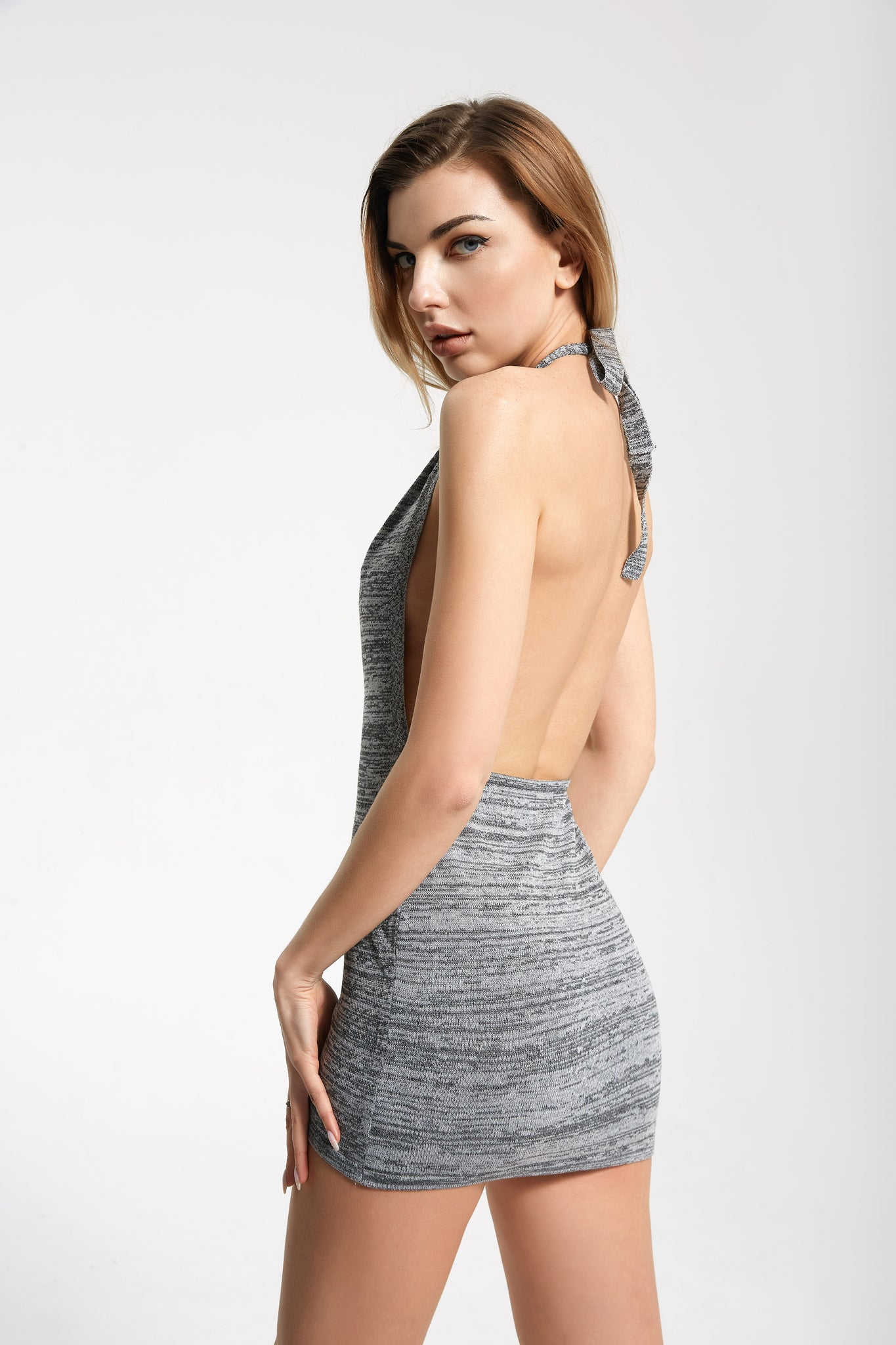 GREY HALTER MINI DRESS