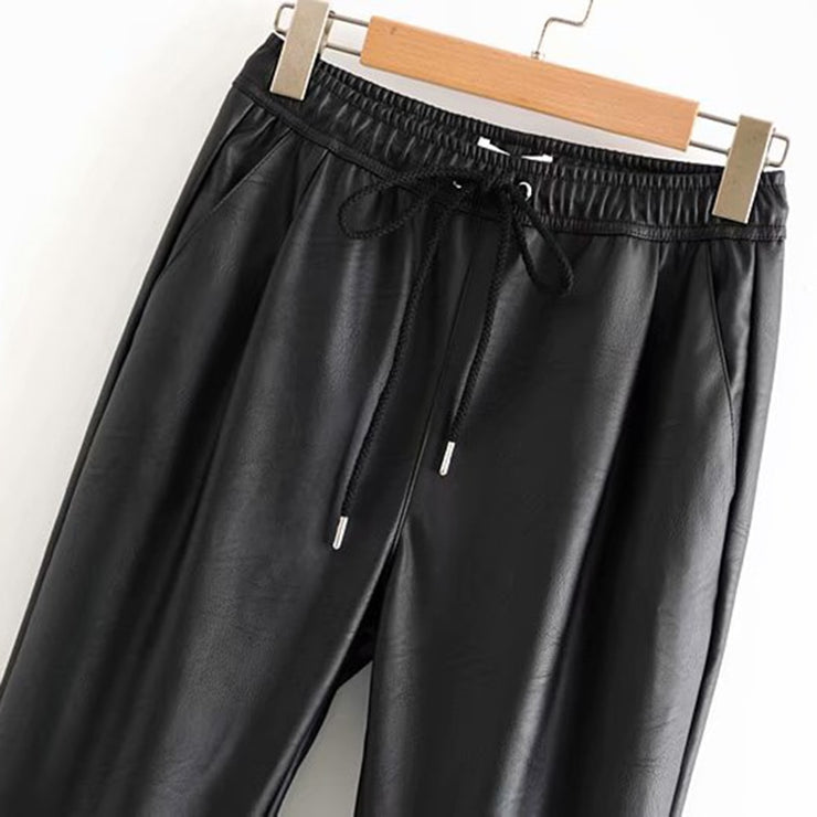 ELASTIC FAUX LEATHER TROUSERS