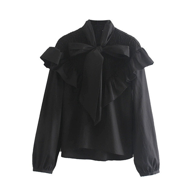 POPLIN BLOUSE WITH BOW