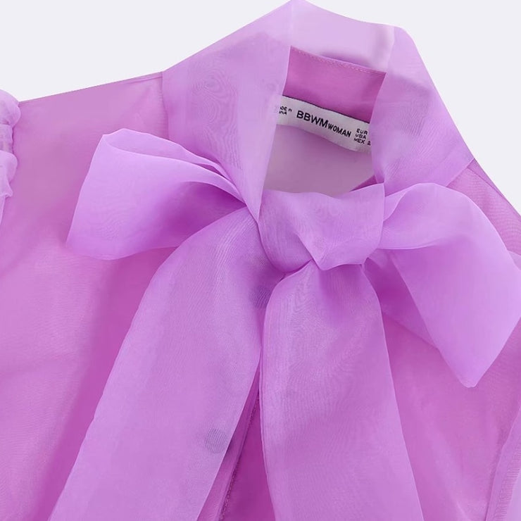 ORGANZA BLOUSE WITH BOW DETAIL
