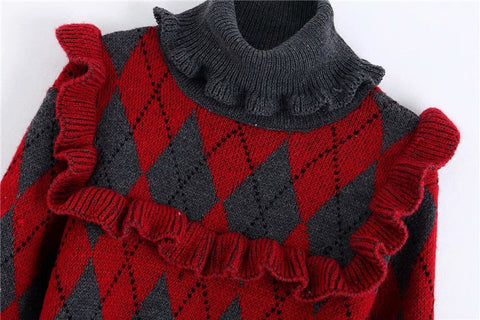 ARGYLE SWEATER WITH RUFFLES