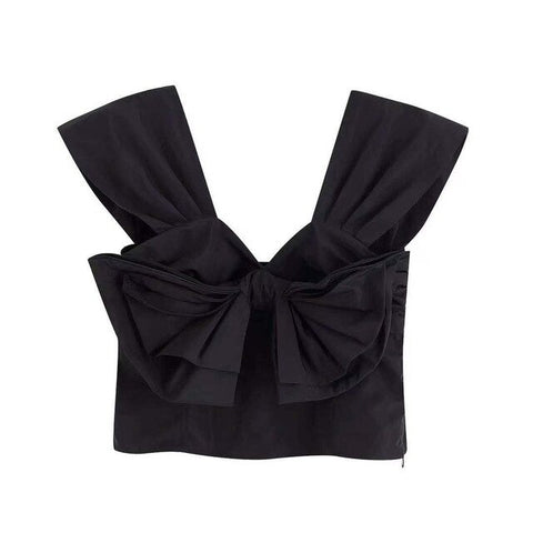 TAFFETA TOP WITH BOW