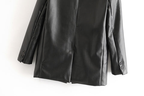 VEGAN LEATHER BLAZER
