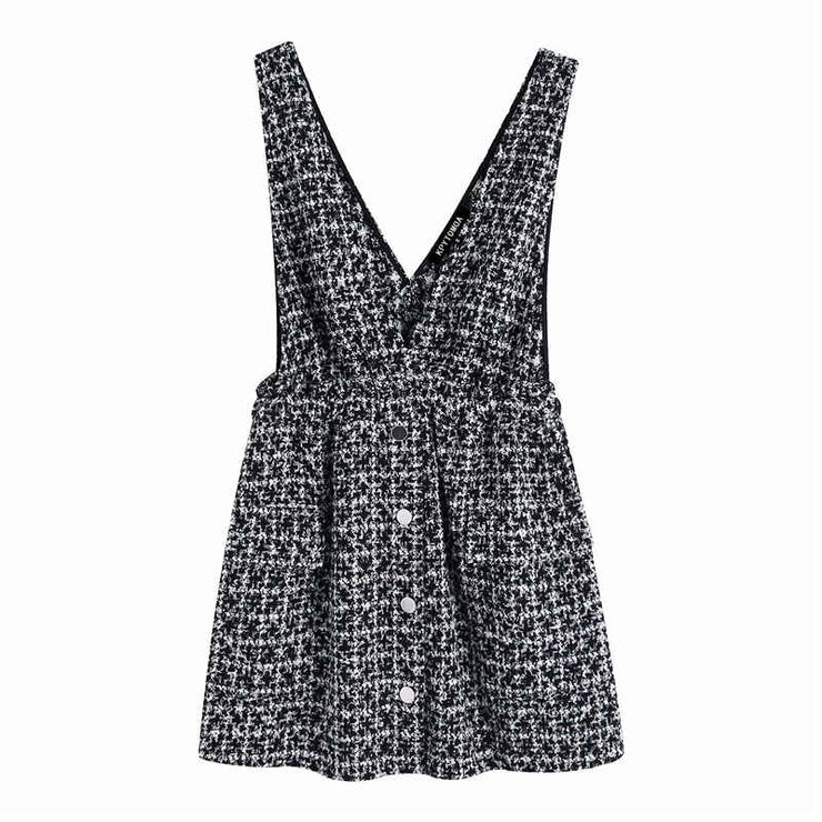 TWEED PINAFORE DRESS WITH STRAPS