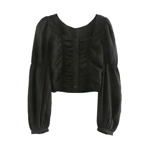 PLEATED CROPPED BLOUSE