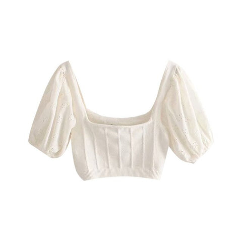 HOLLOW EMBROIDERED CROP TOP