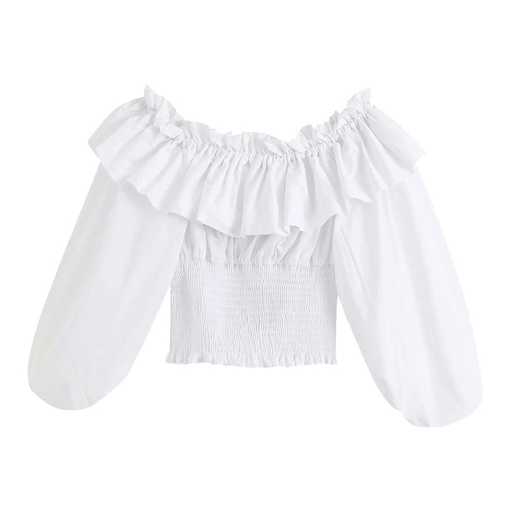 FRILLED POPLIN BLOUSE