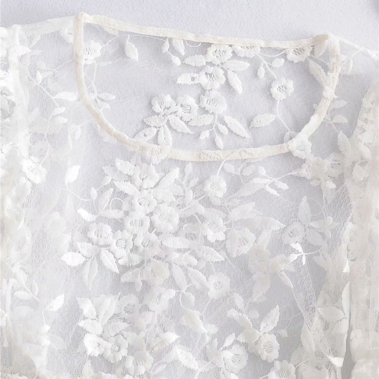 EMBROIDERY TRANSPARENT TOP
