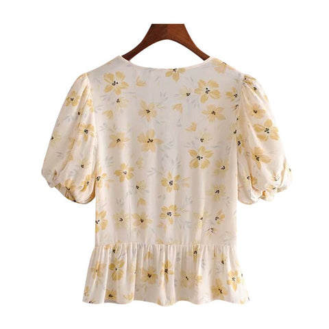 PUFF SLEEVES FLORAL TOP