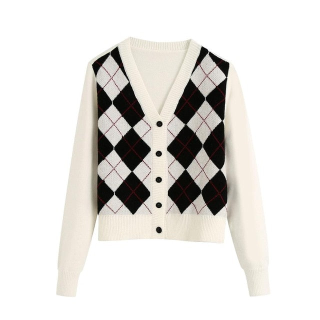 ARGYLE PATTERN KNITTED CARDIGAN