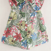FLORAL PRINT HOLLOW OUT PLAYSUITS