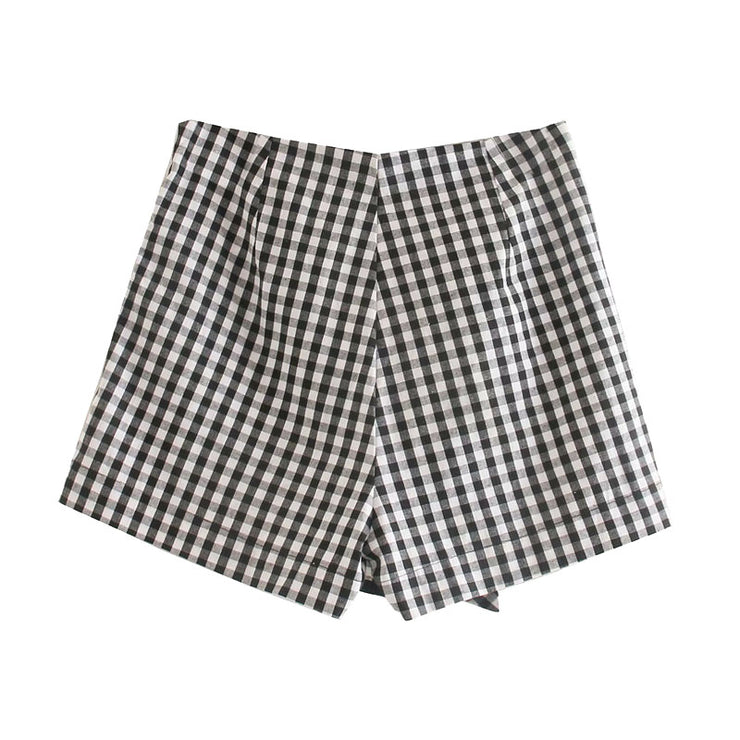 TIED DETAIL PLAID SHORTS