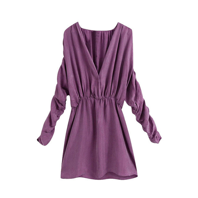 PLEATED COZY MINI DRESS